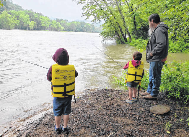 Pictured are participants fishing during a previous New River Gorge National Park and Preserve's Grandfamily Fishing Day. (Courtesy)