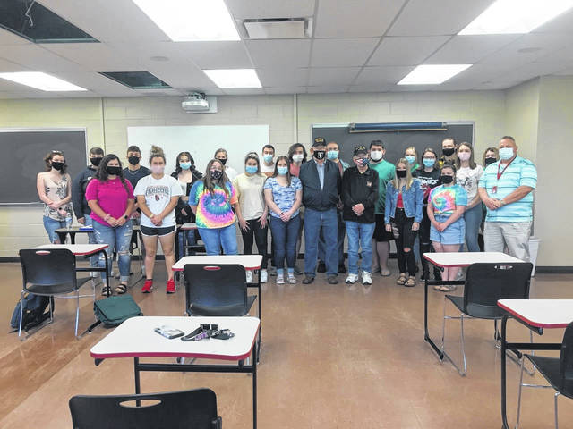 Pictured first row, from left, Katie Walters, Alyssa Petersen, Cierra Clark, Molly Mannon, Catherine Abell, Leigha Bays, Mr. Gehring, Mr. Tripp, Lacia Barnette, Darcie Harbor, Kevin Compston (adjunct instructor); second row, from left, Reece Brunton, Brennen Greene, Olivia Lane, Emily Fallon, Cole Taylor, Brayden Burris, Laramie Roush, Gabriel Terry, Sydney Blouir, Baylee Woodall, Garrett McNerlin, Kori Copley, Hannah Chapman. (Courtesy)