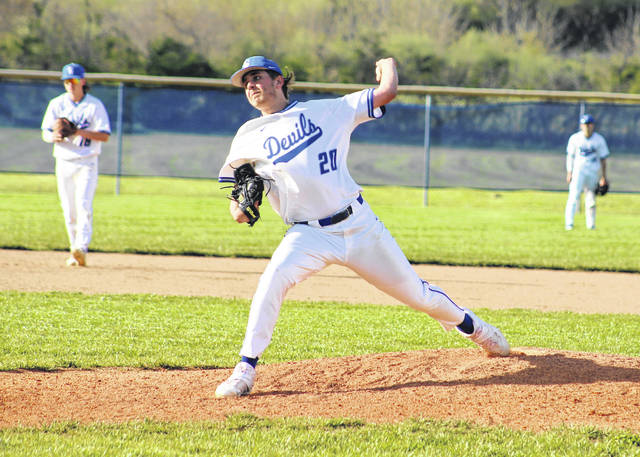 Gallia Academy junior Zane Loveday delivers a pitch during the fourth inning of Tuesday night's baseball game against Point Pleasant in Centenary, Ohio.