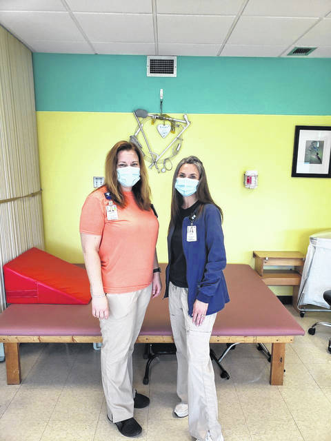 Pictured are Holzer Occupational Therapists Andrea R. Roush, OTR/L, lead occupational therapist, Inpatient Rehabilitation Unit, Holzer Health System, at left with Stella Barrett, OTR/L, director, Therapy Services, Holzer Health System.