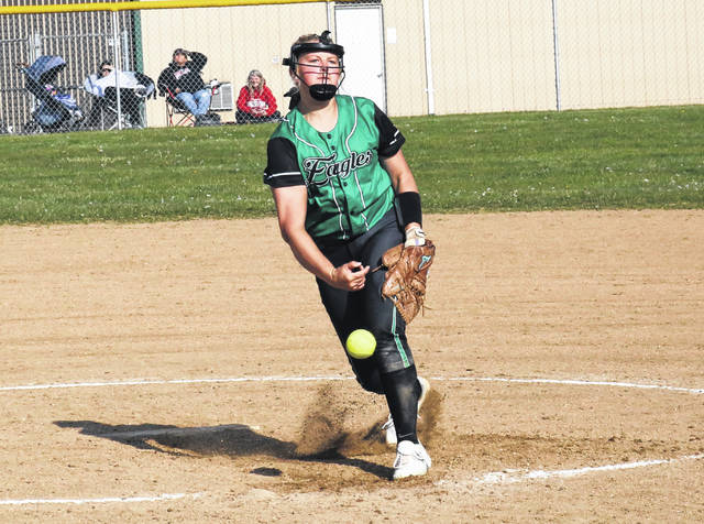 Eastern senior Tessa Rockhold delivers a pitch during a complete game no-hitter on Friday in Tuppers Plains, Ohio.