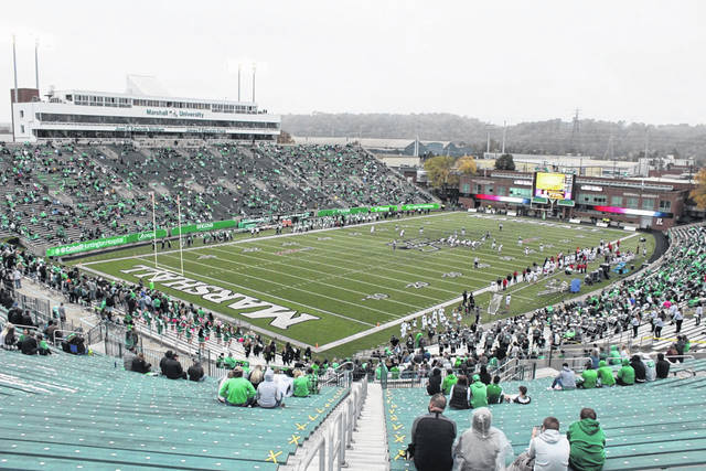 Pictured is Joan C. Edwards Stadium last fall during a socially-distanced football game at Marshall University. The stadium will host graduates and their families this Saturday for the first commencement to be held in that facility.