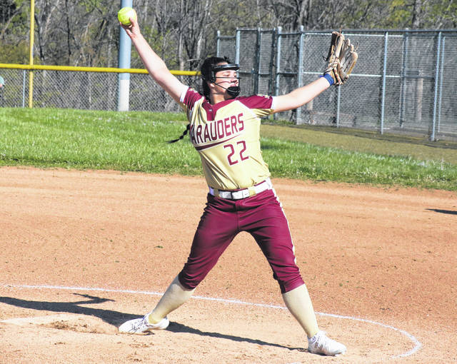 Meigs pitcher Hailey Roberts (22) release a pitch, during the Lady Marauders' loss on Monday in Rocksprings, Ohio.