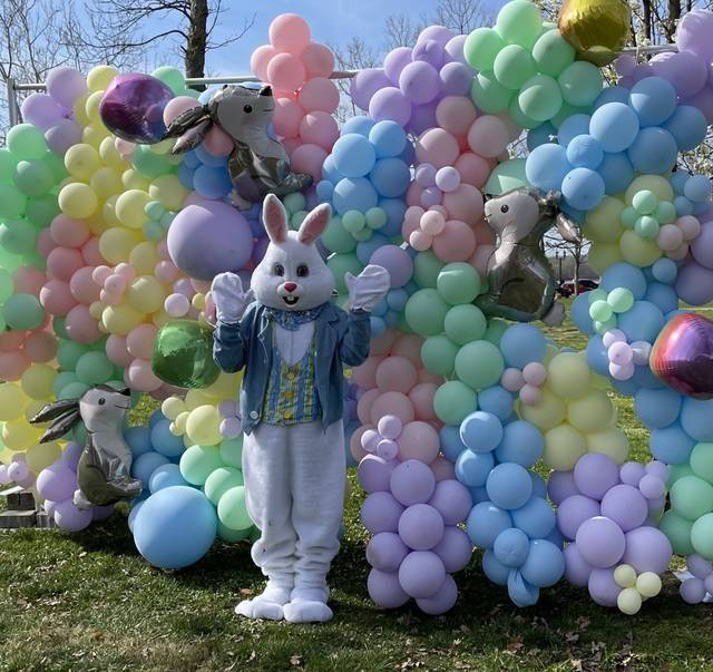 The Easter Bunny greets visitors to Gallipolis City Park on Saturday for the city's Easter egg hunt hosted by the Gallipolis Junior Women's Club. (Photo courtesy Gallipolis Junior Women's Club)