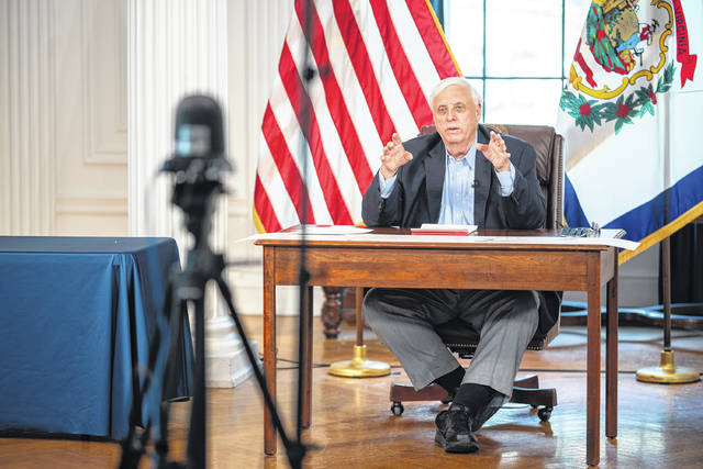 """During his press briefing Wednesday, Gov. Jim Justice, pictured, urged all West Virginians age 65 and older who have not yet been vaccinated to schedule an appointment to get the vaccine amid an """"uptick"""" in COVID-19 cases. (Office of Gov. Jim Justice 