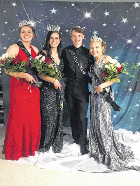 """It was a """"Night Under the Stars"""" at Wahama High School Saturday evening, as the Junior/Senior Prom was held in the school gymnasium. Royalty crowned included, from left, Torre VanMatre, senior attendant; Abbie Lieving, prom queen; Owen Richardson, prom king; and Bailee Bumgarner, junior attendant."""