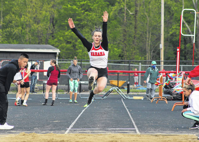 Wahama senior Abbie Lieving leaps through the air during an attempt in the long jump event Friday at the Paul Wood Invitational in Point Pleasant, W.Va.