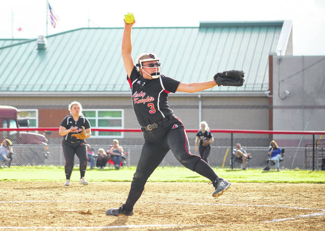 Point Pleasant senior Madilyn Keefer (3) releases a pitch during a May 4 softball game against Gallia Academy in Point Pleasant, W.Va.