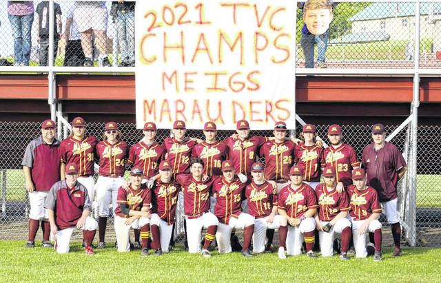 Members of the 2021 Meigs baseball team pose for a photo after clinching the outright TVC Ohio championship on Friday in Rocksprings, Ohio.