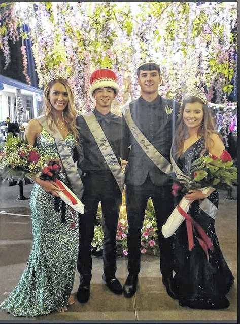 Last weekend, Point Pleasant High School celebrated prom with the crowning of royalty, including, pictured from left, Prom Queen McKenzie McQueen, Prom King Braxton Lovejoy- Watkins, Prom Prince Luke Derenberger, Prom Princess Ellie Andrick.