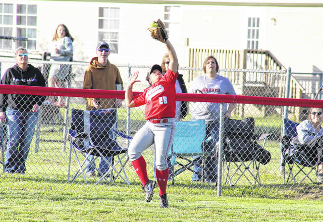 Wahama junior A'leisia Barnitz catches a fly ball in deep left field, during the Lady Falcons' May 12 victory over Point Pleasant in Hartford, W.Va.