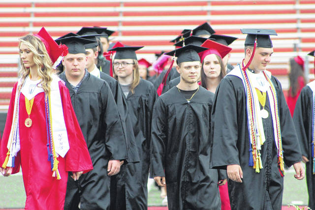 Graduates enter the field at Point Pleasant High School for Saturday's commencement.