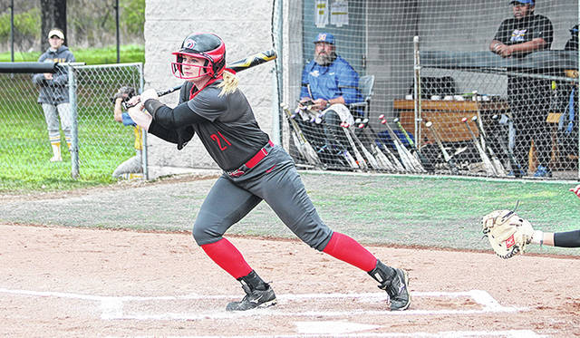 University of Rio Grande junior Taylor Webb watches a base hit take place during an undated softball contest. Webb, who originally hails from Willow Wood, Ohio, was named RSC player of the week in softball and leads the RedStorm into the RSC tournament as the top overall seed.
