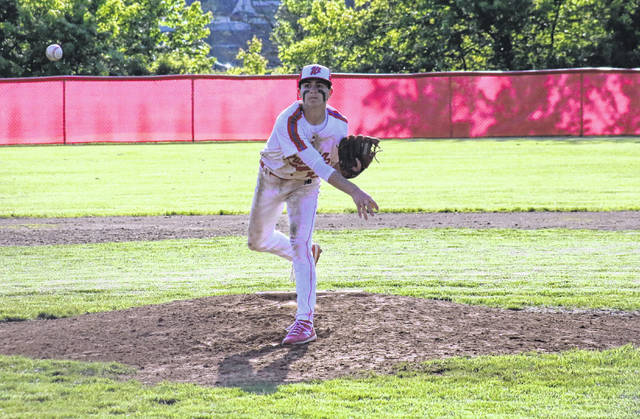 Wahama reliever Aaron Henry pitches in the fifth inning of the White Falcons' 10-0 victory over St. Mary's on Thursday in Mason, W.Va.