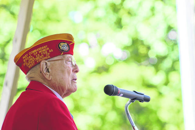 """The last surviving Medal of Honor recipient to serve in World War II, Hershel """"Woody"""" Williams, addresses the crowd at Gallipolis City Park on Monday."""