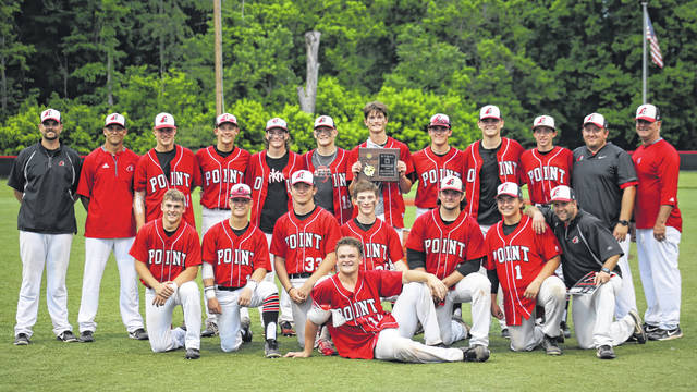 Members of the Point Pleasant baseball team pose for a photo after winning the Class AA Region IV, Section 1 championship 1-0 on Tuesday in Sissonville, W.Va.