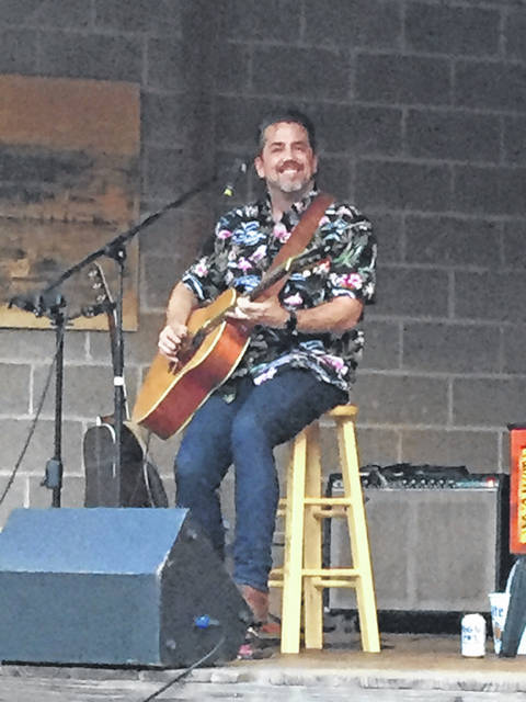 Patrick Sweany performs in O'Brien Park in Pomeroy.