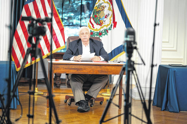 Gov. Jim Justice pictured at his news briefing on Thursday.