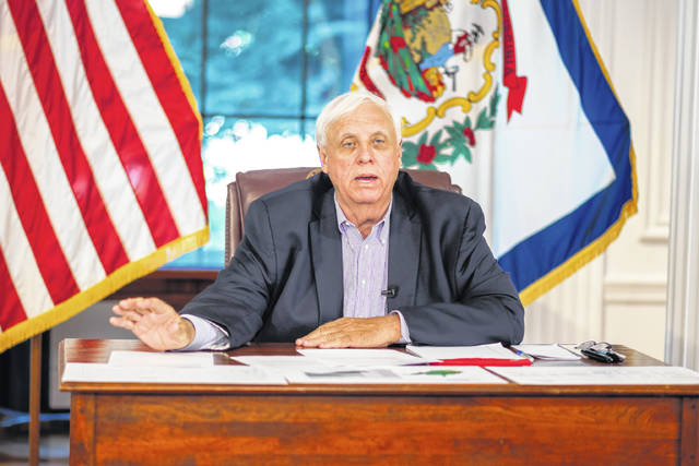 """Gov. Jim Justice is pictured during his Tuesday briefing where he reminded the second round of prize winners through the """"Do it for Babydog"""" Vaccination Sweepstakes will be announced today."""