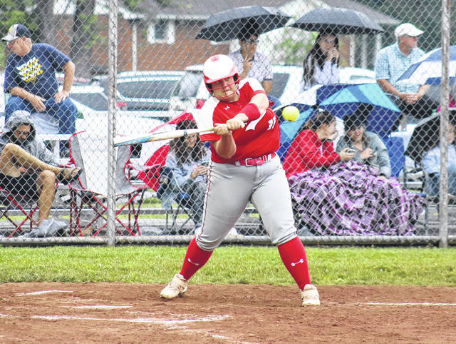 Wahama senior Deborah Miller blasts a solo home run, during the Lady Falcons' 9-4 tournament victory on Wednesday in Hartford, W.Va.