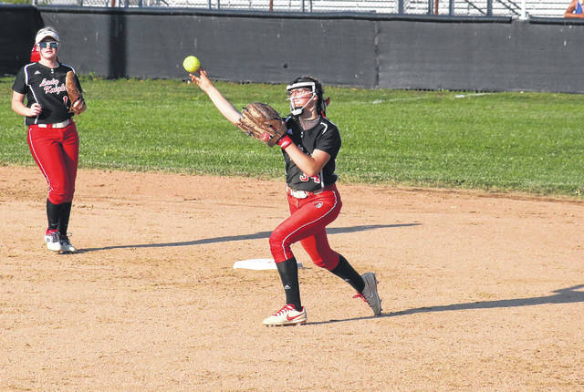 Point Pleasant junior Tayah Fetty (34) throws to first base in front of freshman Kaylee Byus (1), during the Class AA Region IV, Section 2 winner's bracket final on Friday in Sissonville, W.Va.