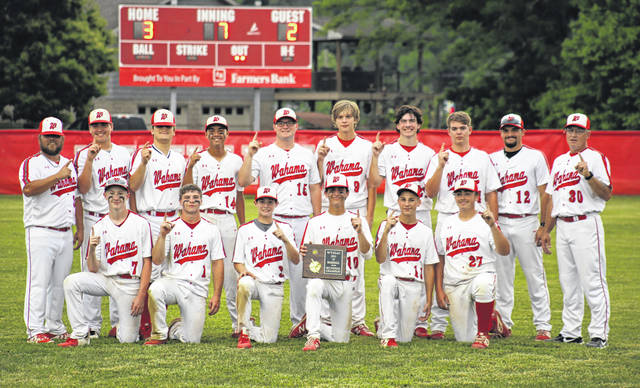 Members of the Wahama baseball team pose for a photo after winning the Class A Region IV, Section 2 championship on Monday in Mason, W.Va.