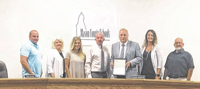 """This Wednesday, June 30 has been declared """"Jack Cullen Day"""" in the City of Point Pleasant. Pictured from left are board members Jared Billings, Rhonda Tennant, Meagan Bonecutter, Point Pleasant Mayor Brian Billings, Supt. Cullen, board members Ashley Cossin and Dale Shobe."""