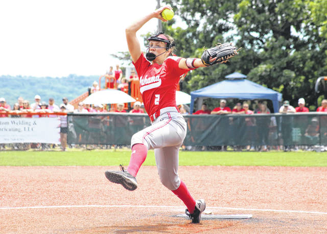 Wahama sophomore Mikie Lieving (2) delivers a pitch during the Class A state championship softball game against Ritchie County on Wednesday, June 23, at Craft Field in South Charleston, W.Va.