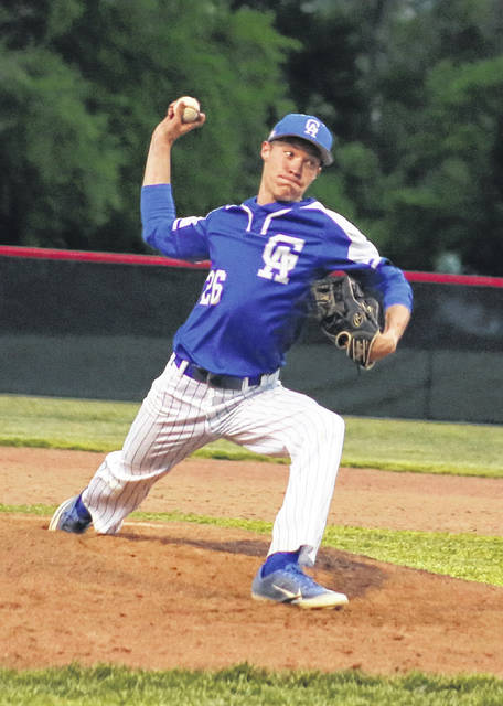 Gallia Academy senior Colton Roe (26) delivers a pitch during the fourth inning of a May 11 baseball contest against Point Pleasant in Point Pleasant, W.Va.