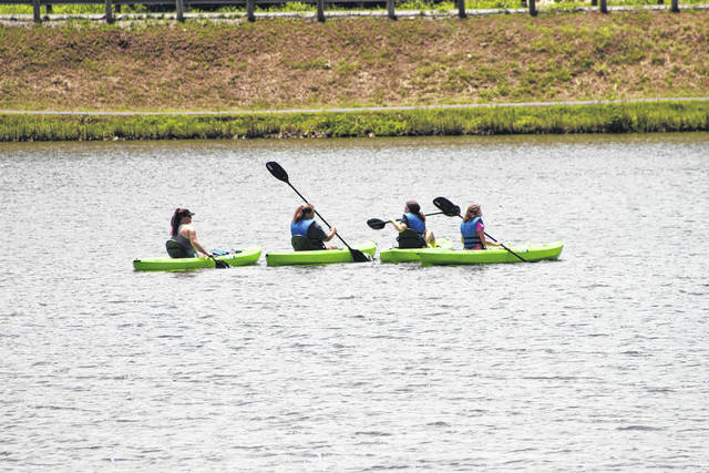 These kayakers paddle out on the lake at Krodel Park during a recent, sunny weekend. In addition to the splash pad, the park offers kayak and pedal boat rentals at the Yak Shak. Hours are 11 a.m. – 7 p.m. Wednesday-Sunday, closed Mondays and Tuesdays. Privately-owned kayaks are also welcome on the lake at Krodel Park.