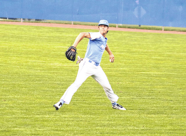 Post 39 right fielder Zane Loveday throws a runner out at the plate, during an 8-7 victory on Tuesday in Lancaster, Ohio.