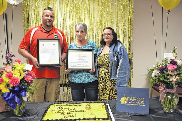 Ethel Taylor, center, a 20-year dispatcher with Mason County 9-1-1, has been named the Association of Public Safety Communications Officials (APCO) West Virginia Telecommunicator of the Year. She is pictured with Matt Shell, left, 9-1-1 director of operations, who nominated Taylor, and Tiffany Franklin, 9-1-1 director.