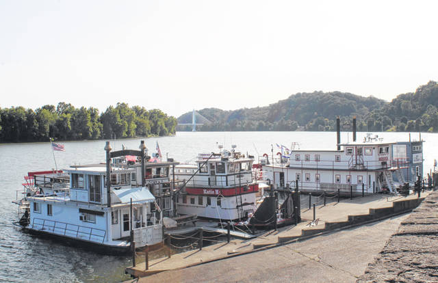 Sternwheelers line the downtown Pomeroy riverfront.