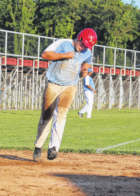 Hunter Wood comes around to score a run for Meigs Post 39 on Tuesday during a 9-2 victory over Athens Post 21 in an American Legion baseball contest at Meigs High School in Rocksprings, Ohio.