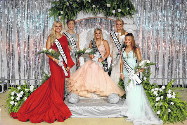 Kira Henderson, pictured sitting, was named the 2021 Mason County Fair Queen on Monday night. Fair royalty also pictured, front row, from left, First Runner-Up Sydney Facemyer, Miss Congenialty Alivia Layne; second row, far left, Second Runner-Up Leah Hoffman and Third Runner-Up Madilyn Keefer (far right).