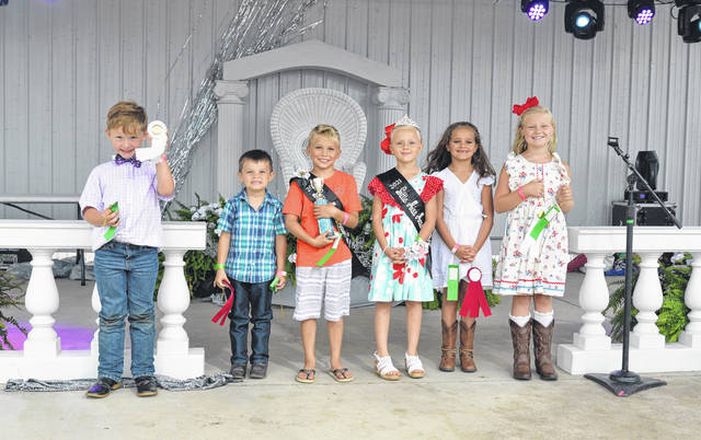 Earlier this week, the Mason County Fair's youngest royals were chosen and included the 2021 Little Mr. Mason County Levi Blain and 2021 Little Miss Mason County Sara Stone, both pictured at center. Joining Blain and Stone in their royal court were Little Mr. Second Runner-Up Joseph Durst (second from left) and Little Mr. Third Runner-Up Trey Arbogast (far left), as well as Little Miss Second Runner-Up Victoria Rainey (second from right) and Little Miss Third Runner-Up Nora Watterson (far right).