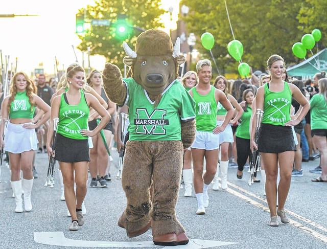 The annual Herd Rally is set for 7 p.m. Friday, Aug. 20, along Ninth Street between Third and Fourth avenues in Huntington. The event is open to the public. Pictured is MU's Marco leading the way at a previous event.