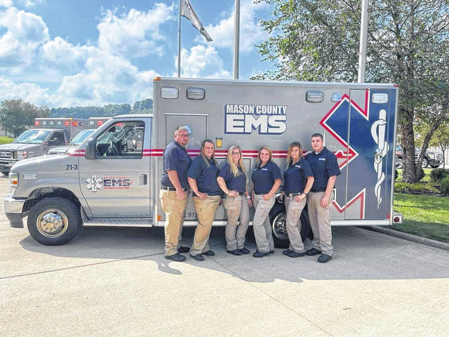 The Mason County EMS received four new ambulances on Friday, courtesy of the voters of Mason County. The vehicles are being paid for through a levy passed during the November 2020 election and that went into effect on July 1, 2021. Pictured with one of the ambulances, from left, are Raymond Justis, EMT/assistant supervisor; Holly Davis, EMT; Jessica Thorp, EMT; Elisabeth Lloyd, EMS director; Skyla King, EMT; and Andrew Thompson, paramedic/supervisor.