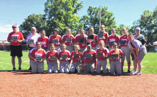 Chris Noble, back row at left, with his 2021 Class A Championship Wahama Softball Team.
