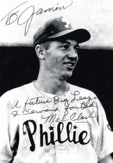 Pictured is an autographed photo of the late Mel Clark when he played with the Philadelphia Phillies. Clark gifted the photo to Jamin Layton.