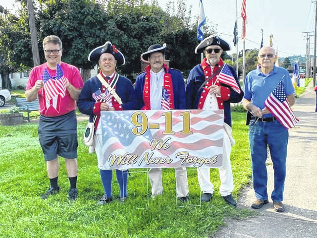 Point Pleasant Sons of the American Revolution (SAR) Chapter members Eric Robbins, Ed Cromley, Dave Siders, Randy McGill and Jack Lee, pictured, recognized the 2oth anniversary of the 9/11 attacks this past Saturday. The SAR members stood at the Medal of Honor Park along Jackson Avenue and waved the nation's flags a minute for each time a plane went down. A 9/11 remembrance ceremony hosted by the Ladies Auxiliary of American Legion Post #23 was also held Saturday — more on this event in an upcoming edition.