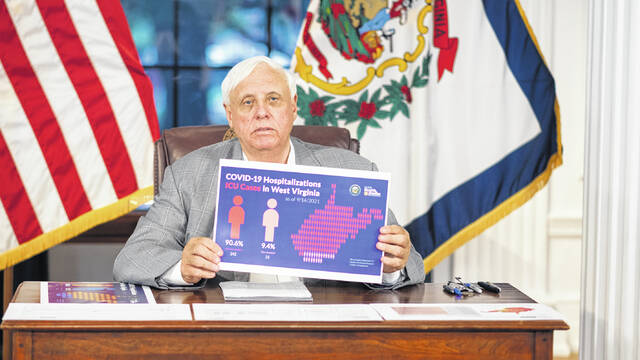 This week, Gov. Jim Justice, pictured, reported approximately 84% of West Virginians who are hospitalized with COVID-19 are unvaccinated and over 90% of those in ICUs with COVID-19 are unvaccinated.