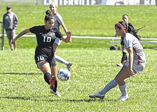 Rio Grande's Lucia de la Llera controls the ball during the first half of Saturday's match against Indiana University East in Centerville, Ind. de la Llera scored the game's lone goal in a 1-0 RedStorm victory.