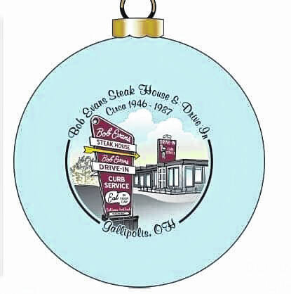 The 34th Landmark Series Christmas bulb features the old Bob Evans Steakhouse and Drive-in that operated in Gallipolis, Ohio from 1946 to 1978.
