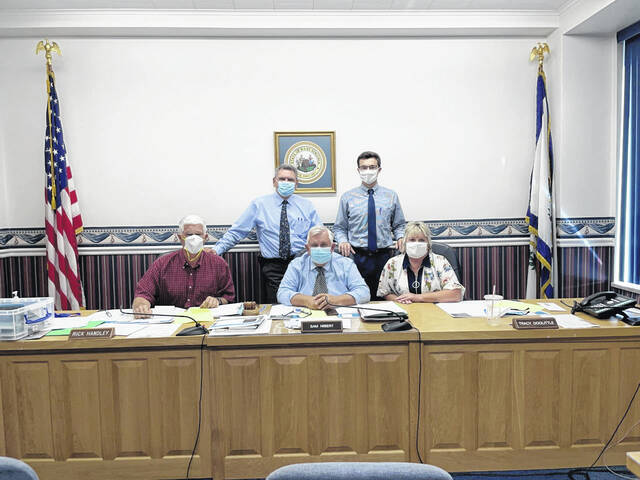 Pictured are from left, back row, Administrator John Gerlach and Assistant Adminstrator Jason Bechtle; front row Commissioners Rick Handley, Sam Nibert and Tracy Doolittle.