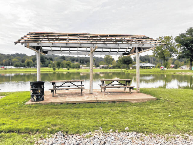 Four of the small picnic shelters at Krodel Park have been prepped for roof replacements and painting this Saturday.