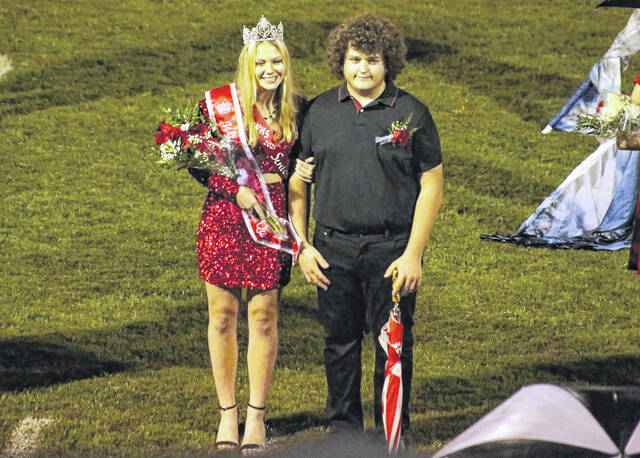 Wahama's 2021 Homecoming Queen Michaela Hieronymus is pictured along with her escort Dalton Starkey at Friday's football game.