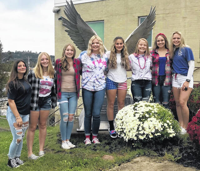 Three senior girls will be vying for the title of Wahama Homecoming Queen during halftime of the football game Friday night. Pictured from left, are Brogann Henry, eighth grade attendant; Chloe Rickard,seventh grade; Jayla Simpkins, freshman; Emma Young, junior; Kloe Sigman, sophomore; and senior candidates Bailee Bumgarner, Jessica Dangerfield, and Michaela Hieronymus.