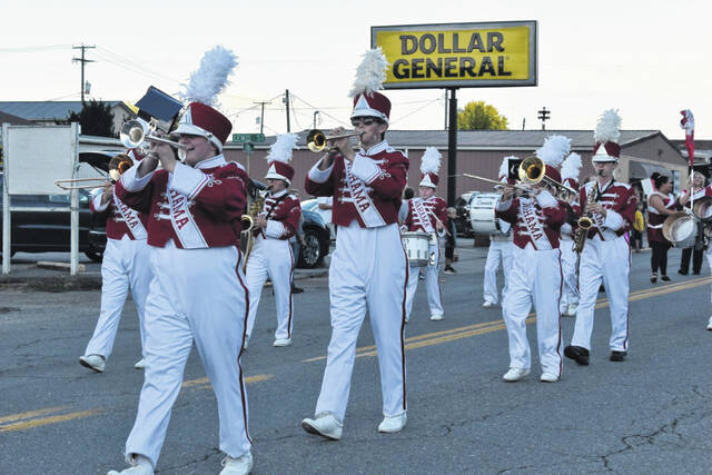A portion of the Wahama White Falcon Band is pictured as they march in the school's Homecoming parade in New Haven Thursday. More from Thursday's parade appears inside this edition. Results from Friday's football game will appear online this weekend and in Tuesday's print edition.