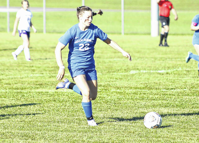 Gallia Academy senior Preslee Reed (22) scored both goals for the Blue Angels during a soccer game Tuesday evening against the Fairland Lady Dragons in Proctorville, Ohio.